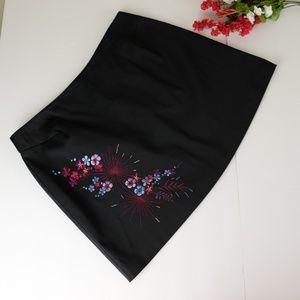 Express floral  Embroidered Black  skirt